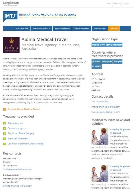 Enhanced Profile in the IMTJ Medical Travel Directory